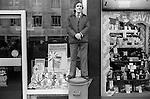 Man watching Lord Mayors Parade through London 1976.