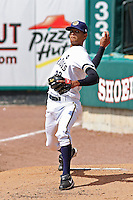 Kelvin Perez #22 of the Charleston RiverDogs warming up in the bullpen before a game against the Rome Braves on April 27, 2010 in Charleston, SC.