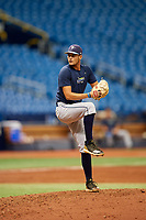 Shane McClanahan (8) delivers a pitch during the Tampa Bay Rays Instructional League Intrasquad World Series game on October 3, 2018 at the Tropicana Field in St. Petersburg, Florida.  (Mike Janes/Four Seam Images)