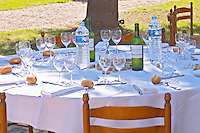 A table set for lunch in the garden a sunny autumn day - Château Pey la Tour, previously Clos de la Tour or de Latour, Bordeaux, France