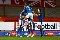 Rhys Bennett of Carlisle United scores the first goal for his team and celebrates during Crawley Town vs Carlisle United, Sky Bet EFL League 2 Football at Broadfield Stadium on 21st November 2020