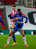 9th January 2021; Bet365 Stadium, Stoke, Staffordshire, England; English FA Cup Football, Carabao Cup, Stoke City versus Leicester City; Kelechi Iheanacho of Leicester City under pressure from Harry Souttar of Stoke City