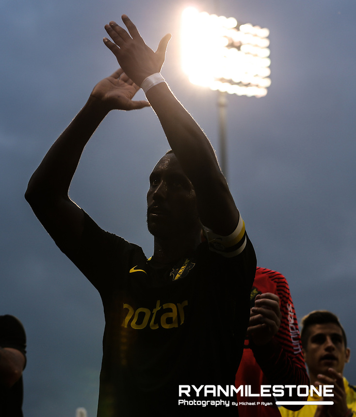 Henok Goitom of AIK celebrates at the end of the UEFA Europa League First Qualifying Round First Leg between Shamrock Rovers and AIK on Thursday 12th July 2018 at Tallaght Stadium, Dublin. Photo By Michael P Ryan
