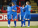 St Johnstone v Hamilton Accies....02.02.11  .Stevie May celebrates his first senior goal for saints with Collin Samuel, Jody Morris and Liam Craig.Picture by Graeme Hart..Copyright Perthshire Picture Agency.Tel: 01738 623350  Mobile: 07990 594431