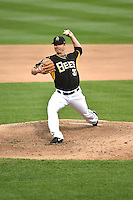 Salt Lake Bees starting pitcher Wade LeBlanc (37) delivers a pitch to the plate against the Albuquerque Isotopes at Smith's Ballpark on May 21, 2014 in Salt Lake City, Utah.  (Stephen Smith/Four Seam Images)