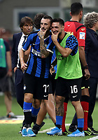 Calcio, Serie A: Inter Milano - Lecce, Giuseppe Meazza stadium, September 26 agosto 2019.<br /> Inter's Marcelo Brozovic (l) celebrates after scoring with his teammate Matteo Politano (l) during the Italian Serie A football match between Inter and Lecce at Giuseppe Meazza (San Siro) stadium, September August 26,, 2019.<br /> UPDATE IMAGES PRESS/Isabella Bonotto