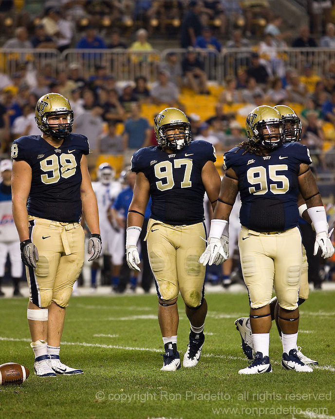 Pitt defensive tackles Chas Alecxih (98), Aaron Donald (97) and Kahynin Mosley-Smith (95). The Pittsburgh Panthers beat the Buffalo Bulls 35-16 at Heinz field in Pittsburgh, Pennsylvania on September 3, 2011