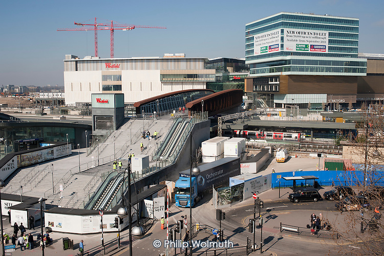 The almost completed Westfield shopping centre in Stratford, London, part of the redevelopment of the area timed to coincide with the London 2012 Olympic Games.