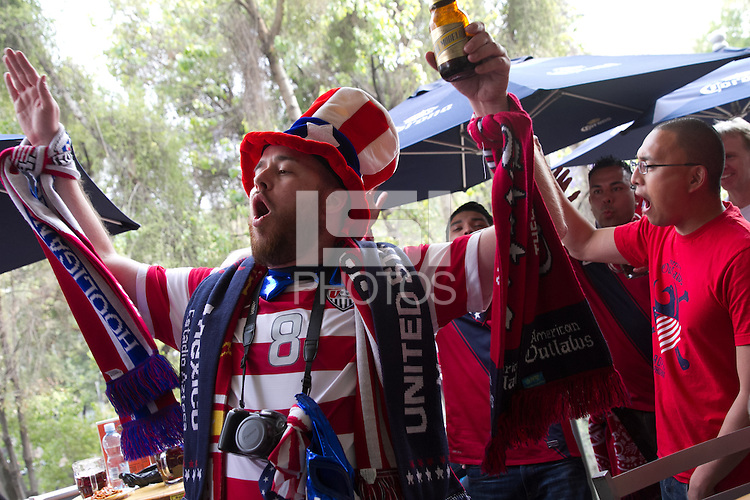 American fans gather at Salon Corona for an American Outlaws pre-game party before the USA vs. Mexico World Cup Qualifier at Azteca stadium in Mexico City, Mexico on March 26, 2013.