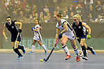 Berlin, Germany, February 10: During the FIH Indoor Hockey World Cup semi-final match between Belarus (dark blue) and Germany (white) on February 10, 2018 at Max-Schmeling-Halle in Berlin, Germany. Final score 2-3. (Photo by Dirk Markgraf / www.265-images.com) *** Local caption *** Nike LORENZ #4 of Germany