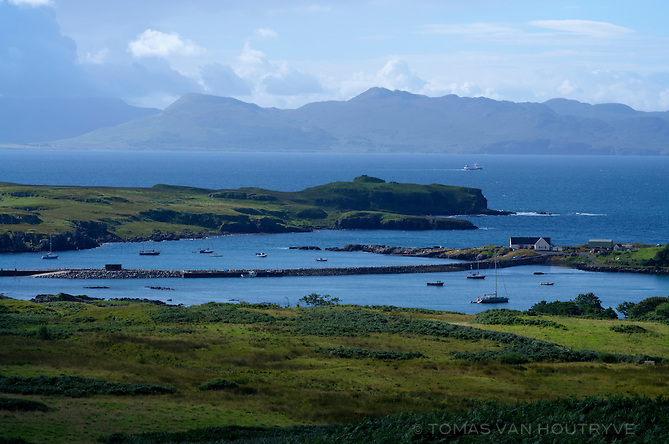The ferry pier is seen near Galmisdale on the Isle of Eigg, Scotland.