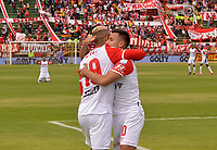 TUNJA - COLOMBIA, 16-02-2020:Diego Valdés jugador del Independiente Santa Fe  celebra despue´s de anotar su gol contra Patriotas Boyacá durante partido entre Patriotas Boyacá y el Independiente Santa Fe por la fecha 5 de la Liga BetPlay I 2020 jugado en el estadio La Independencia de la ciudad de Tunja. /Diego Valdes celebrates after scoring a goal agaisnt  of Patriotas Boyaca  during match between Patriotas Boyaca and Independente Santa Fe for the date 5 as part of BetPlay League I 2020 played at La Independencia stadium in Tunja. Photo: VizzorImage /José Miguel Palencia / Cont /