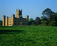 The exterior of Highclere Castle, an imposing Victorian house in the high Elizabethan style
