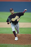 Erik Averill of the Arizona State Sun Devils pitches during a game against the Cal State Fullerton Titans at Goodwin Field on June 6, 2003 in Fullerton, California. (Larry Goren/Four Seam Images)