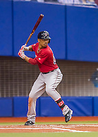 1 April 2016: Boston Red Sox outfielder Mookie Betts in action during a pre-season exhibition series between the Toronto Blue Jays and the Boston Red Sox at Olympic Stadium in Montreal, Quebec, Canada. The Red Sox defeated the Blue Jays 4-2 in the first of two MLB weekend games, which saw an attendance of 52,682 at the former home on the Montreal Expos. Mandatory Credit: Ed Wolfstein Photo *** RAW (NEF) Image File Available ***