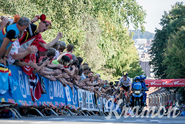 Mavi García (ESP/Alé BTC Ljubljana) up the Wijnpersstraat<br /> <br /> Women Elite - Road Race (WC)<br /> from Antwerp to Leuven (158km)<br /> <br /> UCI Road World Championships - Flanders Belgium 2021<br /> <br /> ©kramon (pic by Sigfrid Eggers)
