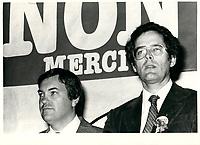 Andre Bujold et Francis Fox durant la campagne du NON lors du Referendum de 1980 (date exacte inconnue)<br /> <br /> <br /> PHOTO :  Agence Quebec Presse