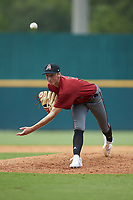Pitcher Drew Gray (5) of Belleville East HS in Swansea, IL playing for the Arizona Diamondbacks scout team during the East Coast Pro Showcase at the Hoover Met Complex on August 2, 2020 in Hoover, AL. (Brian Westerholt/Four Seam Images)