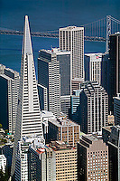 aerial photograph Transamerica Pyramid, Embarcadero West, 275 Battery Street, Spear Street Tower, Embarcadero Center, One California Street and adjacent skyscrapers, San Francisco, California