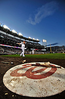 30 September 2009: Washington Nationals' first baseman Adam Dunn stands on deck during a game against the New York Mets at Nationals Park in Washington, DC. The Nationals rallied in the bottom of the 9th inning on Justin Maxwell's walk-off Grand Slam to win 7-4 and sweep the Mets 3-game series capping the Nationals' 2009 home season. Mandatory Credit: Ed Wolfstein Photo