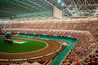 View of the PrincipalityStadium  during the first half of match at  the UEFA EURO 2016 fan zone set up in the Principality Stadium, Cardiff, Wales, Britain, 6 July 2016, watching Portugal vs Wales EURO 2016 semi-final match. Athena Picture Agency/ALED LLYWELYN/ATHENA PICTURES