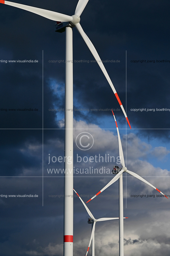 GERMANY, MV, Parchim, windfarm with Vestas wind turbines / DEUTSCHLAND, Parchim, Windpark mit Vestas Windturbinen