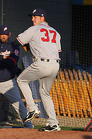 Potomac Nationals pitcher Matt Swynenburg #27 warming up in the bullpen before a game against the Myrtle Beach Pelicans at Tickerreturn.com Field at Pelicans Ballpark on April 11, 2012 in Myrtle Beach, South Carolina. Potomac defeated Myrtle Beach by the score of 6-3. (Robert Gurganus/Four Seam Images)