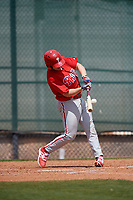 Philadelphia Phillies Danny Zardon (23) swings at a pitch during a minor league Spring Training game against the Pittsburgh Pirates on March 24, 2017 at Carpenter Complex in Clearwater, Florida.  (Mike Janes/Four Seam Images)