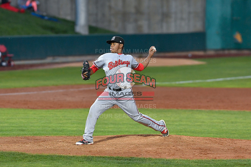 Billings Mustangs starting pitcher Wennington Romero (14) delivers a pitch to the plate against the Orem Owlz in Game 2 of the Pioneer League Championship at Home of the Owlz on September 16, 2016 in Orem, Utah. Orem defeated Billings 3-2 and are the 2016 Pioneer League Champions. (Stephen Smith/Four Seam Images)