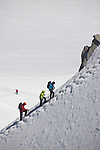 Mountain climbers on the Aguille du Midi Ridge comng from the Vallee Blanche, seen from Aguille du Midi, Chamonix-Mont-Blanc, France