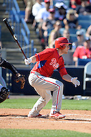 Philadelphia Phillies third baseman Cody Asche (25) during a spring training game against the New York Yankees on March 1, 2014 at Steinbrenner Field in Tampa, Florida.  New York defeated Philadelphia 4-0.  (Mike Janes/Four Seam Images)