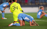 31st August 2021; Estadio Afredo Di Stefano, Madrid, Spain; Women's Champions League, Real Madrid CF versus Manchester City Football Club; Steph Houghton and Karima Tieb after Real Madrid scored their equalising goal (1-1)