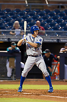 AZL Royals center fielder Isaiah Smith (15) at bat against the AZL Mariners on July 29, 2017 at Peoria Stadium in Peoria, Arizona. AZL Royals defeated the AZL Mariners 11-4. (Zachary Lucy/Four Seam Images)