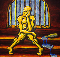 Thinking Man. Acrylic of board. 4' X 4'. Painted about 2001.