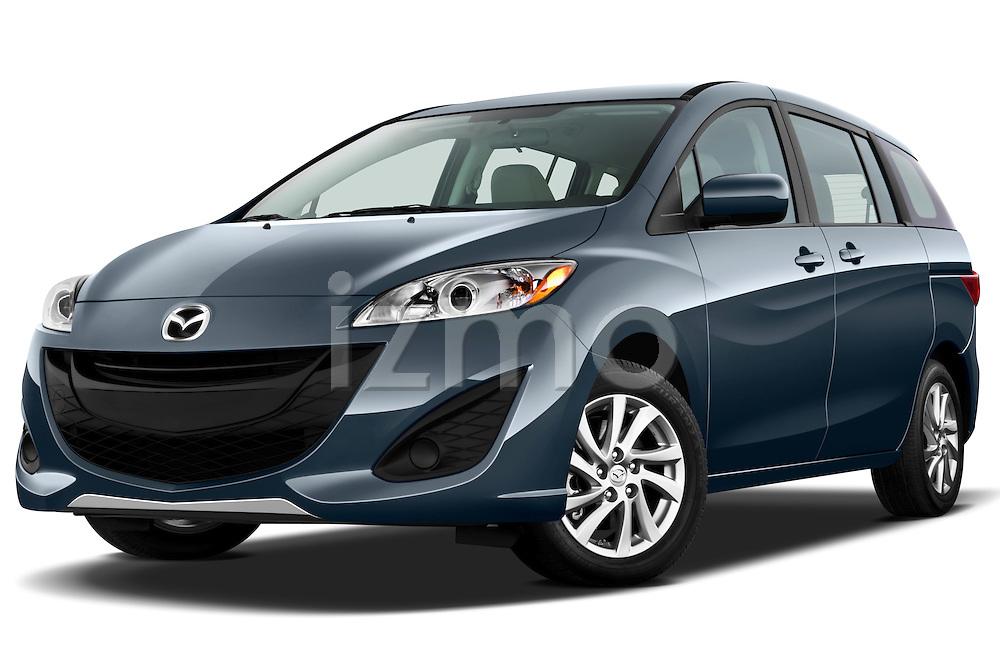 Low aggressive front three quarter view of a 2012 Mazda Mazda5 .