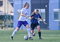 Tine De Caigny (6) of Anderlecht pictured with Raquel Viaene (5) of Club Brugge during a female soccer game between Club Brugge Dames YLA and RSC Anderlecht on the fourth matchday in Play-Off 1 of the 2020 - 2021 season of Belgian Scooore Womens Super League , saturday 1st May 2021  in Brugge , Belgium . PHOTO SPORTPIX.BE | SPP | DAVID CATRY