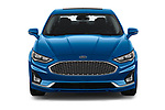 Car photography straight front view of a 2019 Ford Fusion-Hybrid Titanium  4 Door Sedan