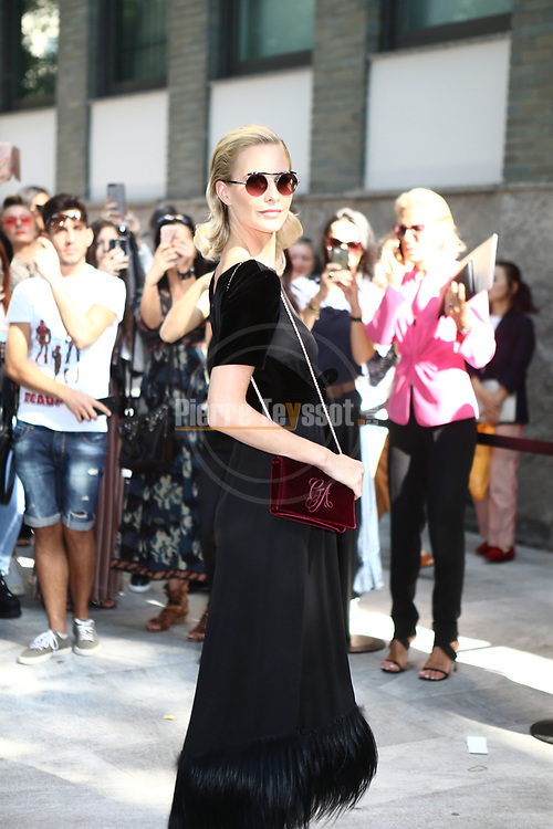 Guests arrival at the Giorgio Armani during the Milan's Fashion Week Women's wear Spring Summer 2019, in Milan, Italy, on September 23, 2018. Poppy Delevingne