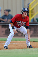 Elizabethton Twins center fielder Max Kepler #23 leads off first during a game against the Bristol White Sox at Joe O'Brien Field on June 25, 2012 in Elizabethton, Tennessee. The Twins defeated the White Sox 9-1. (Tony Farlow/Four Seam Images).