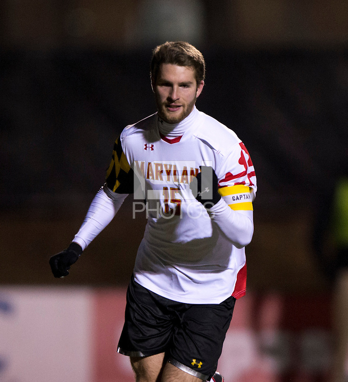 Patrick Mullins (15) of Maryland celebrates converting a penalty kick during the second round of the NCAA tournament at Ludwig Field in College Park, MD.  Maryland defeated Providence, 3-1.