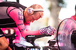 Magnus Cort Nielsen (DEN) EF Education-Nippo warms up before Stage 21 final stage of La Vuelta d'Espana 2021, an individual time trial running 33.8km from Padron to Santiago de Compostela, Spain. 5th September 2021.    <br /> Picture: Charly Lopez/Unipublic | Cyclefile<br /> <br /> All photos usage must carry mandatory copyright credit (© Cyclefile | Unipublic/Charly Lopez)