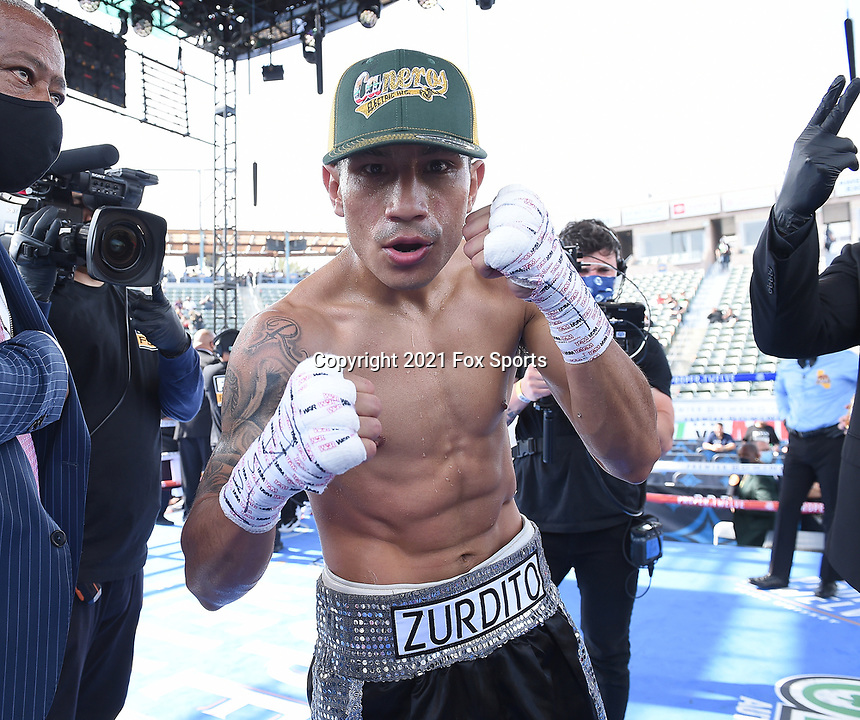 CARSON, CA - MAY 1: Eduardo Ramirez after defeating Isaac Avelar on the Fox Sports PBC fight night on May 1, 2021 at Dignity Health Sports Park in Carson, CA. (Photo by Frank Micelotta/Fox Sports/PictureGroup)