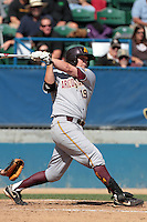 Abe Ruiz #19 of the Arizona State Sun Devils bats against the Long Beach State Dirtbags at Blair Field on March 11, 2012 in Long Beach,California. Arizona State defeated Long Beach State 6-1.(Larry Goren/Four Seam Images)