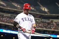 Texas Rangers outfielder Josh Hamilton #32 walks back to the dugout after striking out during the Major League Baseball game against the Baltimore Orioles on August 21st, 2012 at the Rangers Ballpark in Arlington, Texas. The Orioles defeated the Rangers 5-3. (Andrew Woolley/Four Seam Images)..