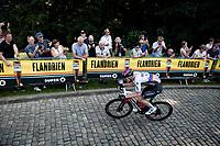 stage leader Matej Mohoric (SVN/Bahrain - Victorious) up the infamous Muur van Geraardbergen / Kapelmuur<br /> <br /> 17thBenelux Tour 2021 (2.UWT)<br /> (Final) Stage 7: from Namur to Geraardsbergen (178km)<br /> <br /> ©kramon