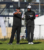 140719 | The 148th Open - Sunday Practice<br /> <br /> Patrick Reid and Tiger Woods on the 2nd tee box at Royal Portrush Golf Club, County Antrim, Northern Ireland. Photo by John Dickson - DICKSONDIGITAL