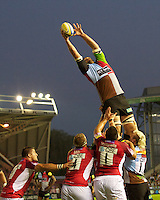 Olly Kohn of Harlequins at full stretch in the lineout during the Aviva Premiership match between Harlequins and London Welsh at the Twickenham Stoop on Friday 7th September 2012 (Photo by Rob Munro)