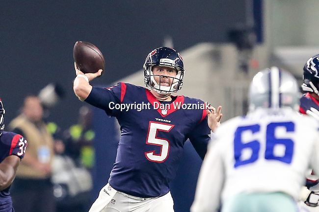Houston Texans quarterback Brandon Weeden (5) in action during the pre-season game between the Houston Texans and the Dallas Cowboys at the AT & T stadium in Arlington, Texas.