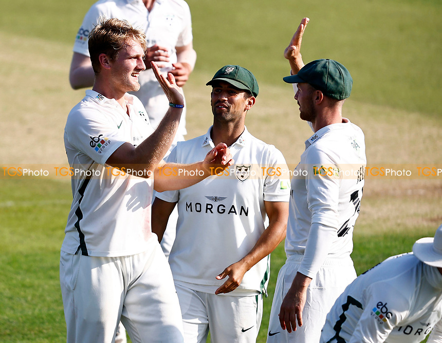 Dillon Pennington (L) of Worcestershire celebrates taking the wicket of Ollie Robinson during Kent CCC vs Worcestershire CCC, LV Insurance County Championship Division 3 Cricket at The Spitfire Ground on 5th September 2021