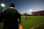 Stockport County 2 Rushden & Diamonds 2, 22/01/2006. Edgeley Park, League Two. Stockport County versus Rushden & Diamonds, Coca-Cola Football League Two at Edgeley Park, Stockport. With the teams occupying the bottom two places in the Football league, points were vital in home club's Jim Gannon's first game in charge as manager. The match ended 2-2. Picture shows County's centre-half Michael Raynes winning an arial battle.<br />  Photo by Colin McPherson.
